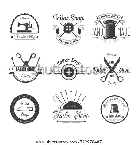 Tailor shop salon vector icons button, sewing needle or scissors and thimble