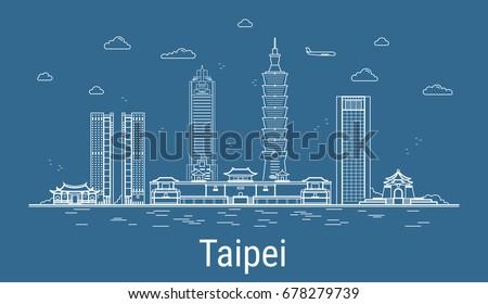 taipei city  line art vector