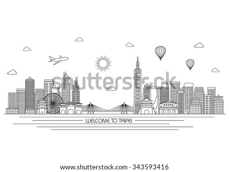 Taipei detailed skyline. Travel and tourism background. Vector background. line illustration. Line art style
