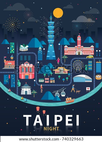 taipei night flat design