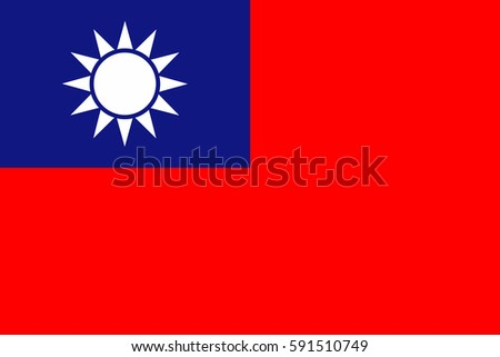 Taiwan Flag, official colors and proportion correctly. National Taiwan Flag vector. Taiwan Flag vector illustration. Taiwan Flag vector background. Taiwanese banner. Taiwanese banner. Taiwanese banner