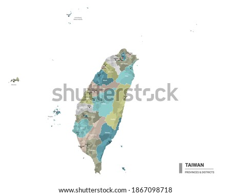 Taiwan higt detailed map with subdivisions. Administrative map of Taiwan with districts and cities name, colored by states and administrative districts. Vector illustration.