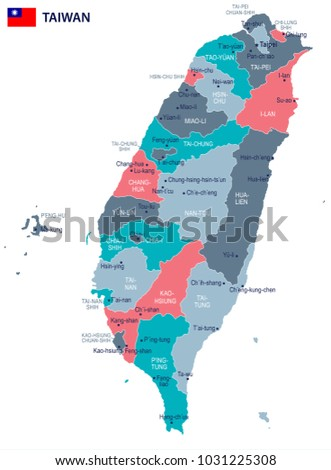 Taiwan, map and flag - High Detailed Vector Illustration