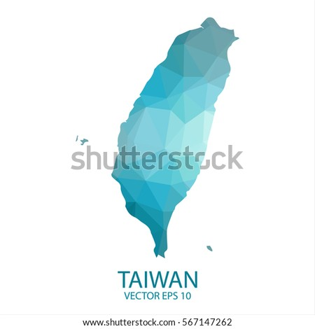Taiwan map - blue geometric rumpled triangular low poly style gradient graphic background , polygonal design for your . Vector illustration eps 10.