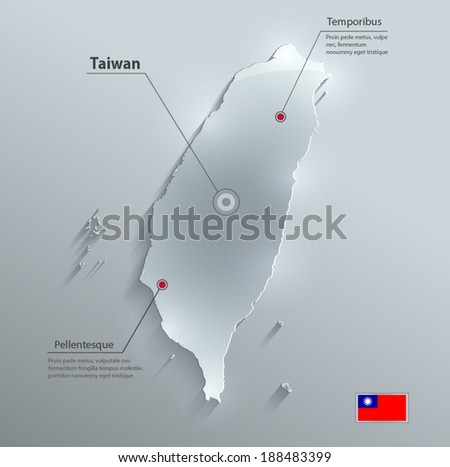 Taiwan map flag glass card paper 3D vector