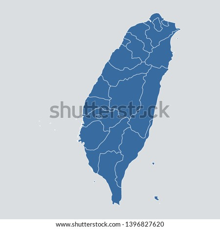 Taiwan map on gray background vector, Taiwan Map Outline Shape Blue on White Vector Illustration, High detailed Gray illustration map Taiwan. Asia map. Eps10.