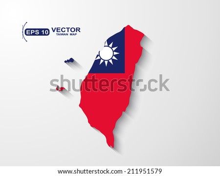 Taiwan map with shadow effect