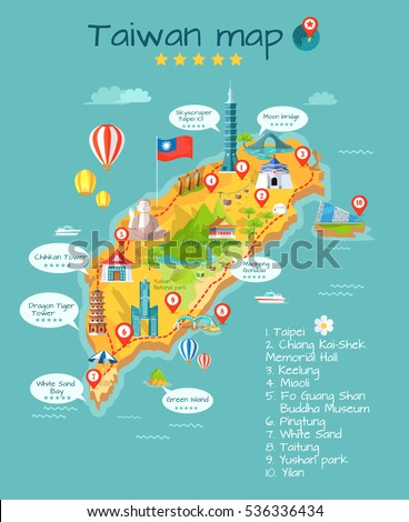 taiwan map with sightseeing