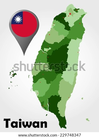 Taiwan political map with green shades and map pointer.