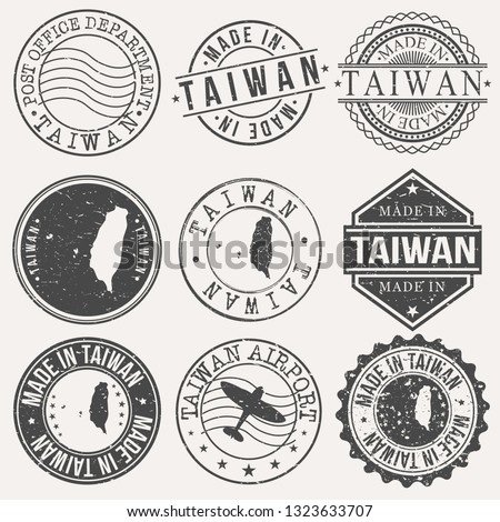Taiwan Set of Stamps. Travel Stamp. Made In Product. Design Seals Old Style Insignia.