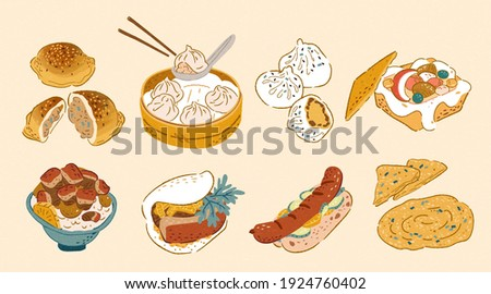 Taiwan street food collection in doodle design, including pepper buns, xiao long bao, pan-fried bun, coffin bread, braised pork rice, gua bao, sausage with sticky rice, and scallion pie.