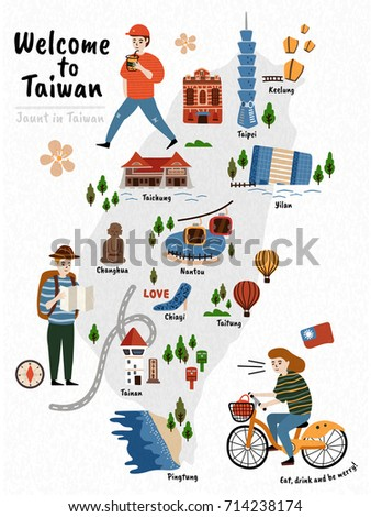 taiwan travel map  hand drawn