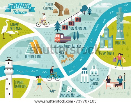 Taiwan travel map, lovely travel route of famous landmark