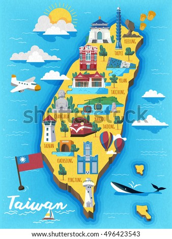 taiwan travel map with chinese