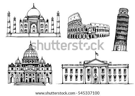 Taj Mahal, Coliseum, Tower of Pisa, St. Peter's Basilica, White House, vector set of popular world landmarks, tourist attractions, isolated on white background