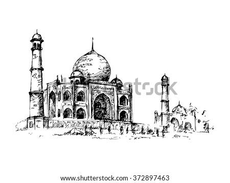 Shutterstock Taj Mahal, India. Vector hand drawn illustration.