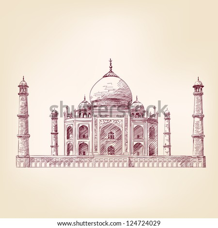 Taj Mahal, India - vintage hand drawn vector illustration