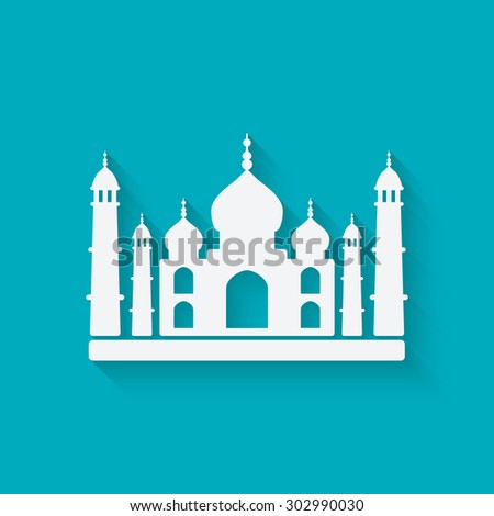 taj mahal on blue background