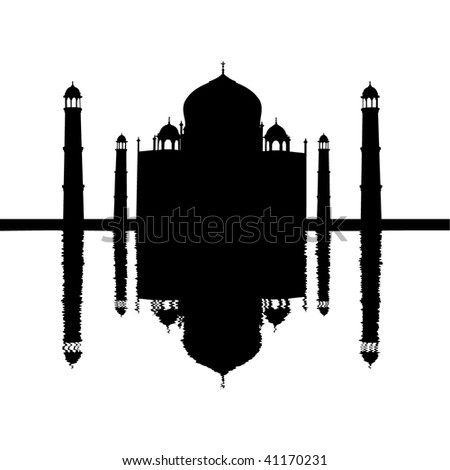 Taj Mahal silhouette reflected with ripples