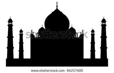 Taj mahal temple silhouette. Vector illustration for design use.