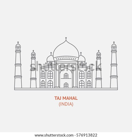 taj mahal thin vector icon