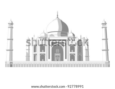 Taj Mahal vector silhouette with shadows in very high detail