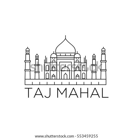 tajmahal line icon landmark