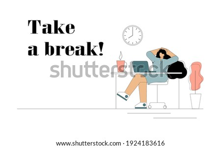 Take a break. A woman throwing her hands behind her head is resting at a desk in the office. Vector flat illustration on white background Foto stock ©