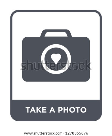 take a photo icon vector on white background, take a photo trendy filled icons from Birthday party and wedding collection, take a photo vector illustration