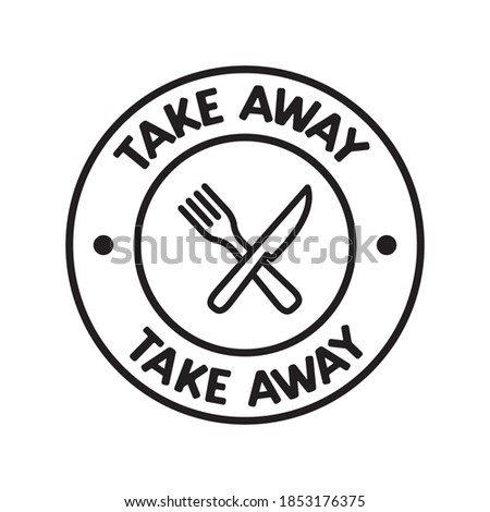 Take away badge. Vector linear illustration. Fast food icon. Foto d'archivio ©