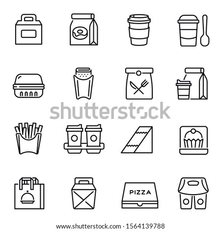 Take away food and drinks linear icons set. Takeaway service, fast food retail symbols pack. Unhealthy nutrition. Lunch bags, coffee cups and breakfast containers thin line illustrations Foto d'archivio ©