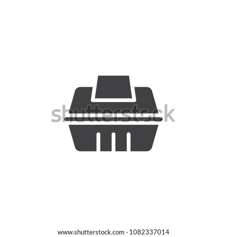Take away food container vector icon. filled flat sign for mobile concept and web design. Fast food delivery simple solid icon. Symbol, logo illustration. Pixel perfect vector graphics