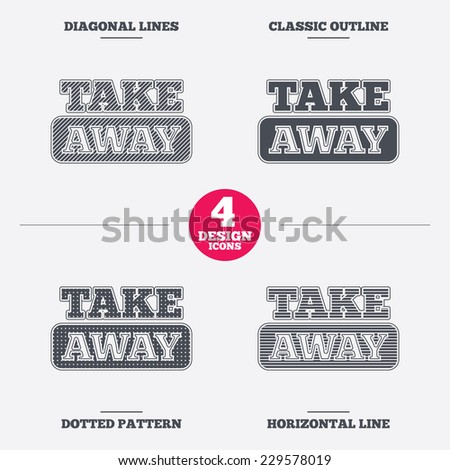 Take away sign icon. Takeaway food or coffee drink symbol. Diagonal and horizontal lines, classic outline, dotted texture. Pattern design icons.  Vector