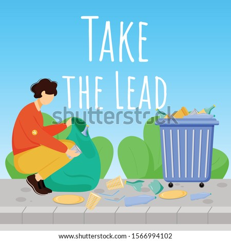Take lead social media post mockup. Environment care advertising web banner design template. Social media booster, content layout. Waste management promotion poster, print ads with flat illustrations