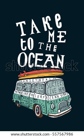 take me to the ocean. vintage blue van with pink and yellow surfboards on it print.