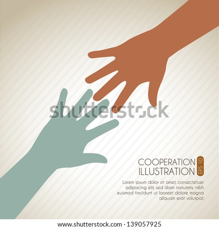 take my hand icon over vintage background vector illustration