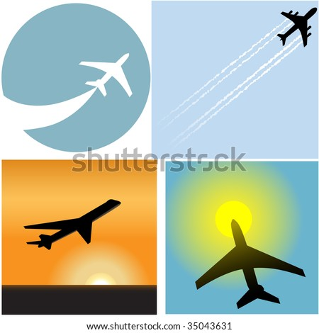 Take off with this set of four Airline Travel passenger plane airport icons and symbols.