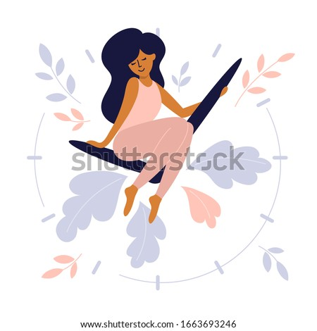 Take time for yourself or self care design concept. Cute girl sits on clock hands of huge watch. Happy mom enjoy free time. Vector illustration busy woman need take a break and relax. Motherhood Issue
