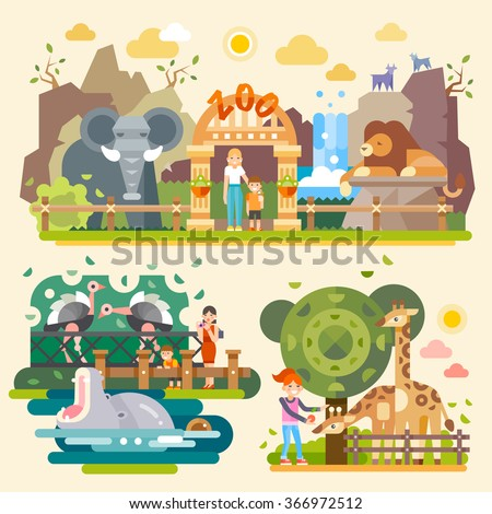 Take your children and let's go to the Zoo! Kind Elephant, majestic lion, huge yawning hippopotamus, ostriches, giraffes, happy kids. Flat vector illustrations