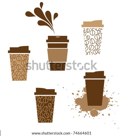 takeaway coffee paper cup with splash - stock vector