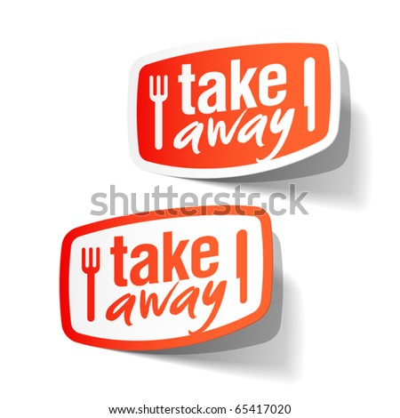 Takeaway labels. Vector.