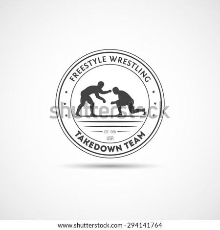 Takedown, Wrestling logotype. Template for section, club or your design.