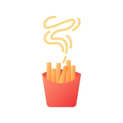 Takeout french fries vector flat color icon. Take away menu. Hot fried potato sticks. Catering service. Fast food delivery. Cartoon style clip art for mobile app. Isolated RGB illustration