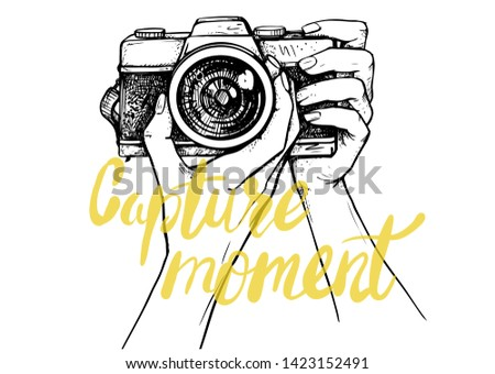 Taking a photo with photo camera