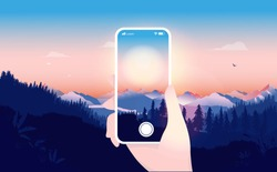 Taking nature photo with phone - Hand holding a white smartphone taking pictures of sunrise. Cellphone photography, capturing nature beauty and hobby photographer concept. Vector illustration.