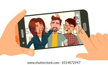 stock-vector-taking-photo-on-smartphone-vector-smiling-friends-taking-selfie-people-posing-hand-holding