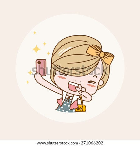 Taking Photo, Selfie Girl / Lady / Woman Isolated Vector / Image / Illustration / Drawing / Cartoon / Animation