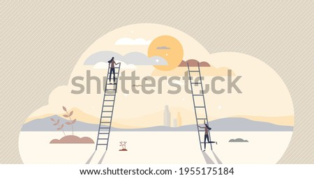 Taking small steps and be patient for big achievements tiny person concept. Persistence and daily effort for target and goal reaching compared with rushed and exaggerated ambitions vector illustration Photo stock ©
