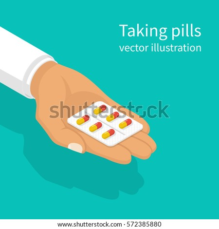 Taking the pills. Doctor holds in hands blister capsule. Vector illustration isometric design. Take painkillers tablets. Medical treatment concept. Healthcare. Medical drugs.