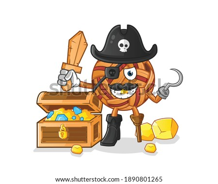 takraw ball pirate with treasure mascot. cartoon vector
